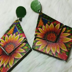 Jewelry - Sunflower Wooden Mosaic Dangle Earrings